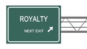 Road sign to royalty. Green road sign to royalty Royalty Free Stock Photo