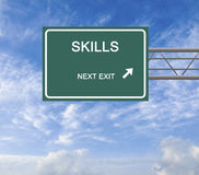 Road Sign to skills. Green road Sign to skills Stock Images