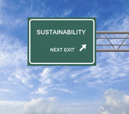 Road sign to sustainability. Green road sign to sustainability Royalty Free Stock Images