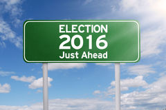 Road sign toward election 2016 Stock Images