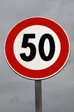 Traffic calming. Maximum velocity 50 km. Road sign Stock Image