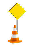 Road sign and traffic cone Stock Photo