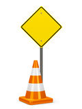 Road sign and traffic cone Royalty Free Stock Photos