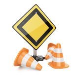 Road sign and traffic cones Royalty Free Stock Images