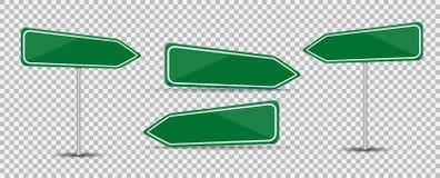 Road Sign on transparent background Blank green arrow traffic. Vector Illustration. stock illustration
