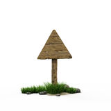 Road sign triangle. The old wooden road sign Royalty Free Stock Photo