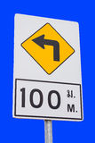 Road sign turn right Stock Photo