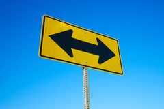 Road Sign Two Black Arrows Stock Photos