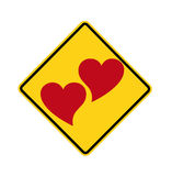 Road sign - two hearts Royalty Free Stock Photography