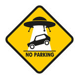 Road Sign UFO Abduction car. UFO abducts improperly parked car Stock Illustration