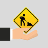 Road sign under construction design icon Stock Photos