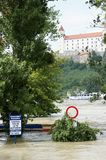 Road sign under water - extraordinary flood, on Danube in Bratislava Stock Photography