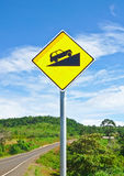 Road sign up to hill. Image Stock Image