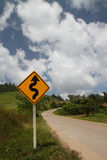 Road sign before uphill. Road sign before uphill on daytime Royalty Free Stock Photo