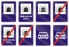 Road sign used in Slovakia - Tunnel Royalty Free Stock Image