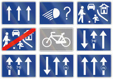 Road sign used in Spain - Three lanes one-way road Stock Image
