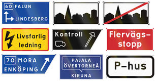 Road sign used in Sweden - Advance direction sign, diagrammatic Stock Images