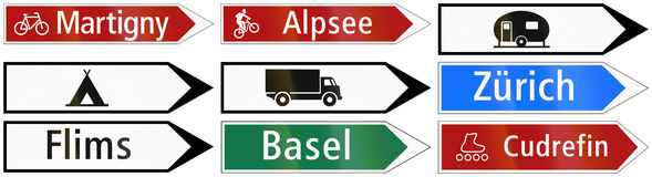 Road sign used in Switzerland - Route for cycles Stock Image