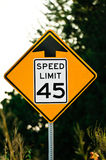 Road sign used in the US, 45 MPH speed limit. Stock Photos