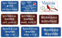Road sign used in the US state of Virginia - State police number Stock Image