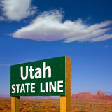 Road sign between Utah and Arizona State Line Stock Photos