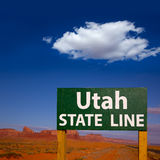 Road sign between Utah and Arizona State Line Royalty Free Stock Photo