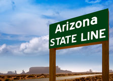 Road sign between Utah and Arizona State Line Stock Photography