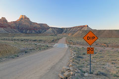 Road sign in the Utah desert. Stock Photo