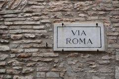 Road sign - Via Roma Royalty Free Stock Image