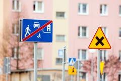 Road sign warning Stock Photos