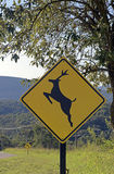 Road sign warning about crossing deer. SANTANA DE PARNAIBA, SP, BRAZIL - AUGUST 1, 2015 - Wild animal crossing warning sign in road of Sao Paulo state royalty free stock images