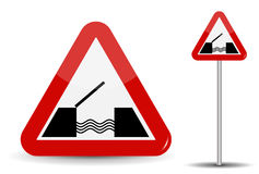 Road sign Warning Drawbridge. In Red Triangle are schematically depicted coast, water and bridge. Vector Illustration. EPS10 Royalty Free Stock Images