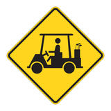 Road Sign Warning - Golf Cart Royalty Free Stock Image