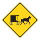 Road Sign Warning - Horse Draw Royalty Free Stock Images