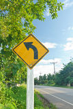 Road Sign. Road sign warning left curve ahead Royalty Free Stock Photography