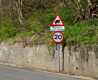 Road sign warning of migratory toads crossing in Britain Stock Photos