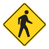 Road Sign Warning - Pedestrian Royalty Free Stock Image