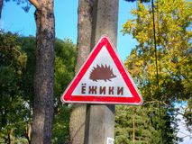 Road sign, warning for people, Caution, animals, hedgehog stock images