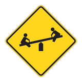 Road Sign Warning - Playground Stock Photos