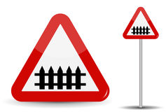 Road sign Warning railroad crossing. In Red Triangle, fence-barrier is schematically depicted. Vector Illustration. EPS10 royalty free illustration
