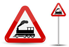 Road sign Warning Railway crossing without barrier. In Red Triangle is a schematic depiction of a steam locomotive in Stock Image