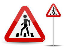 Road sign Warning. In Red Triangle man at pedestrian crossing. Vector Illustration. Royalty Free Stock Photos