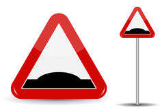 Road sign Warning Sleeping policeman. In Red Triangle is schematically depicted an artificial unevenness in the form of Royalty Free Stock Image