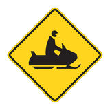Road Sign Warning - Snow Mobil Stock Photo