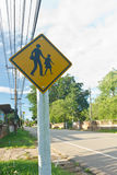 Road sign warning. Road sign warning students crossing Royalty Free Stock Images