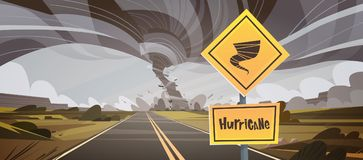 Road Sign Warning About Tornado, Twister Hurricane Countryside Wind Swirl Destroy Field Natural Disaster Concept Royalty Free Stock Photos