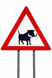 Road sign warning of Warthogs - Isolated Royalty Free Stock Photography