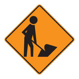 Road Sign Warning - Workers Royalty Free Stock Image