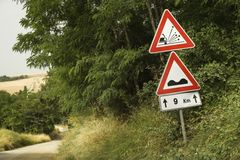Road sign warnings, Tuscany. Royalty Free Stock Photos