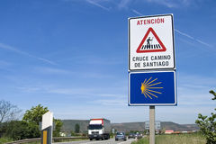 Road sign warns motorists of crossing pilgrims stock images